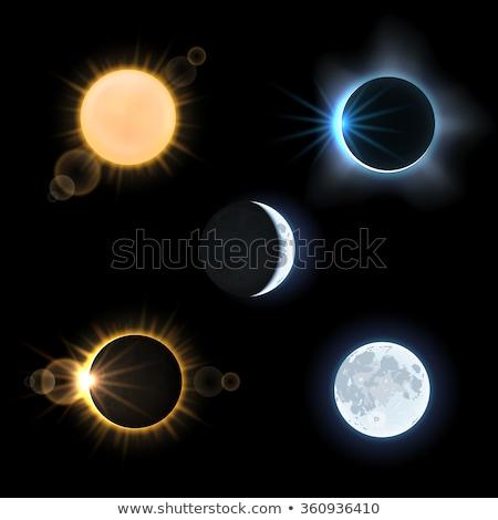 Solar eclipse elementos ilustración sol luna Foto stock © lenm