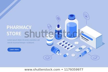 Injekciós tű szett tabletta elsősegély készlet gyógyszer Stock fotó © robuart
