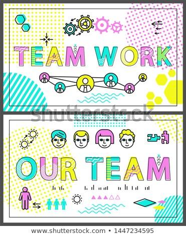 Trabalho em equipe colorido promo banners linear templates Foto stock © robuart