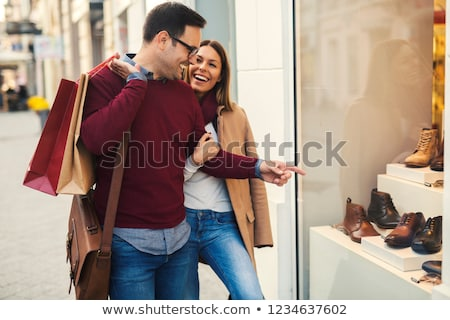 Couple Shopping ensemble mode boutique spacieux Photo stock © Kzenon