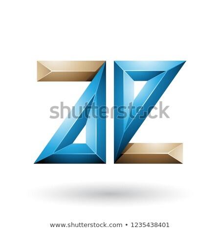 beige and blue 3d geometrical embossed letter e vector illustrat stock photo © cidepix
