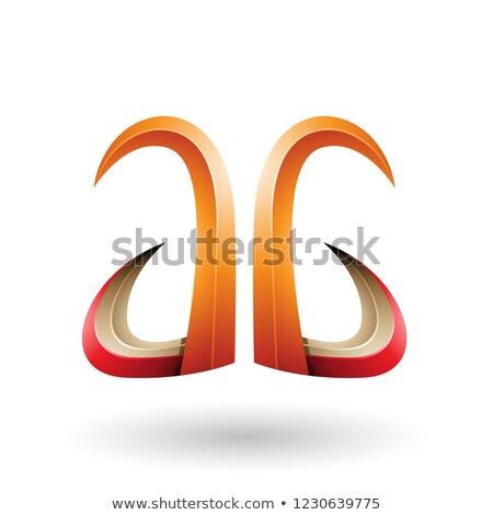 Laranja vermelho 3D chifre como carta Foto stock © cidepix