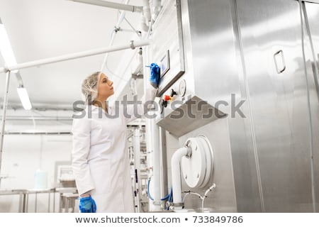 Kobieta programowanie komputera lody fabryki przemysłu Zdjęcia stock © dolgachov