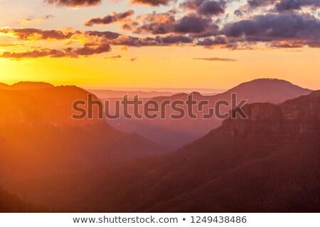 Foto stock: Escénico · amanecer · heno · vista · azul · montanas