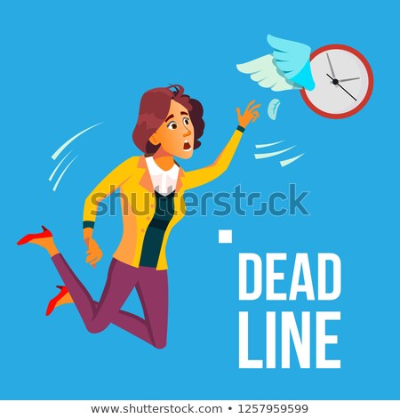 deadline vector business woman catching by hands flying clock with wings illustration stock photo © pikepicture