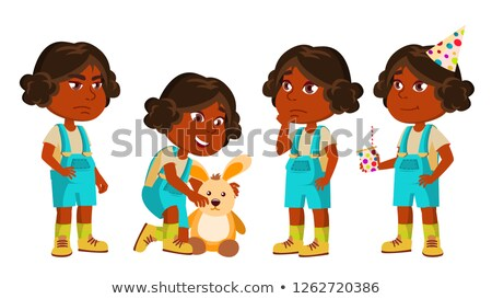 Indian Girl Kindergarten Kid Poses Set Vector. Hindu. Playing With Hare Toy. Active, Joy Preschooler Stock photo © pikepicture