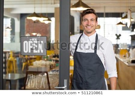 üzletember áll nyitott ajtó hátsó nézet üzlet iroda Stock fotó © AndreyPopov