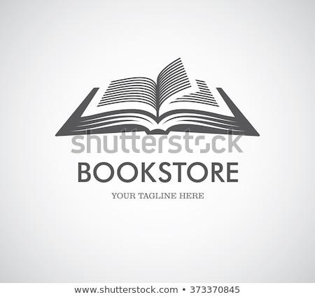 Preto livro aberto ícone logotipo design de logotipo livro Foto stock © blaskorizov