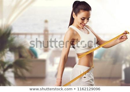 Karcsú nő gyomor piros sportok ruházat Stock fotó © simply