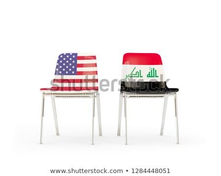 Dois cadeiras bandeiras Iraque isolado branco Foto stock © MikhailMishchenko