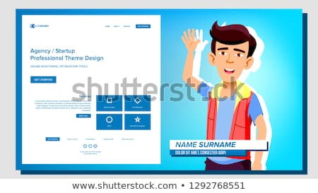 Self Presentation Vector. Asian Male. Introduce Yourself Or Your Project, Business. Illustration Stock photo © pikepicture