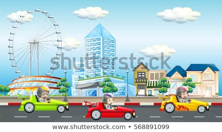 Scene with kids riding race car on the road Stock photo © colematt