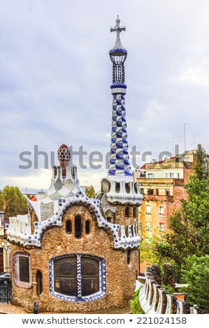 Gatehouse at the main entrance to Park Guell Stock photo © artjazz