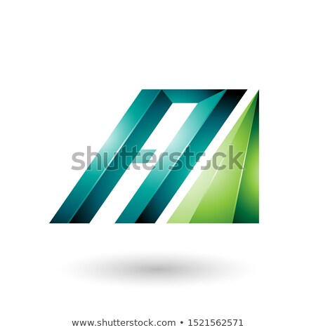 light and dark green letter a of glossy diagonal bars stock photo © cidepix