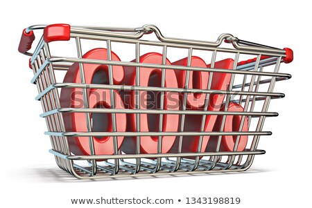 steel shopping basket 60 percent sign 3d stock photo © djmilic