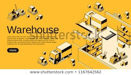 Raktár logisztika halftone izometrikus szállítmány kék Stock fotó © tashatuvango