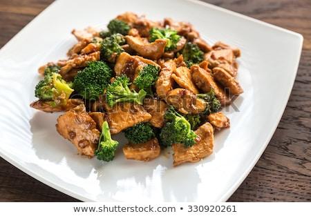 жареная курица брокколи томатном соусе фон груди Сток-фото © tycoon
