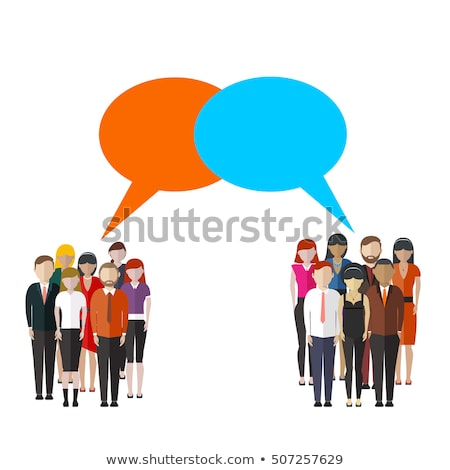 Opinion poll flat illustration of two groups of people and speech bubbles between them. Flat vector  Stock photo © makyzz