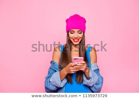 Stok fotoğraf: Heyecanlı · genç · kız · yaz · şapka · zaman