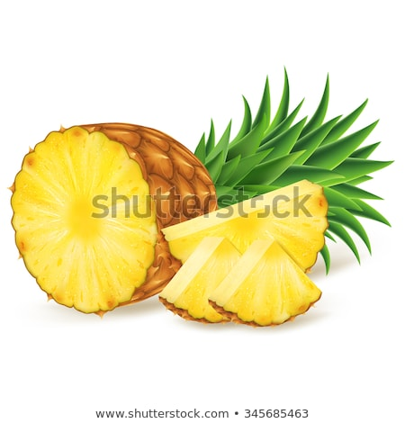 Stockfoto: Bright Realistic Pineapple Isolated On White Background