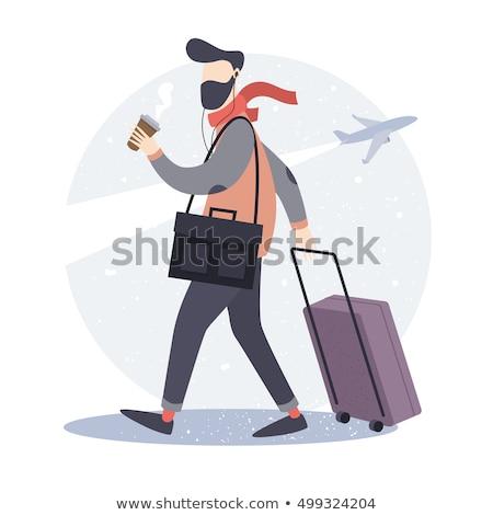 Man Travel Baggage Illustration Stock photo © lenm