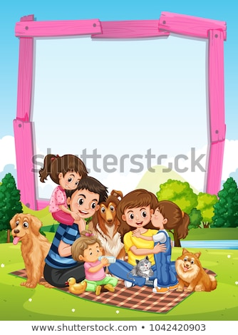 Border template with family having picnic in park stock photo © colematt