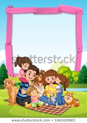 keret · sablon · család · piknik · park · illusztráció - stock fotó © colematt