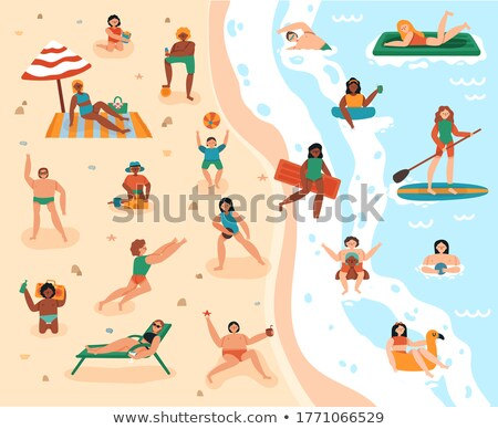 Hot Summer Activities, Man Swimming on Surfboard Stock photo © robuart