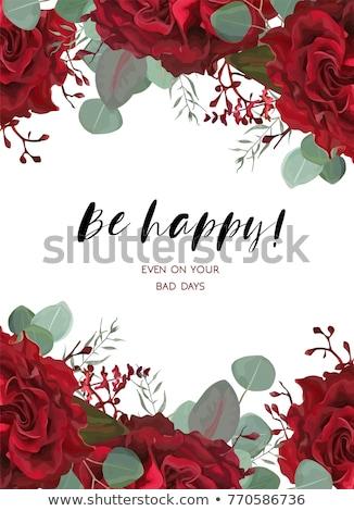 Rosa vermelha carta velho lona envelope modelo Foto stock © PetrMalyshev