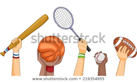 Badminton Game, Male Holding Racket in Hands Vector Stock photo © robuart