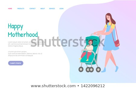 Motherhood Web, Mom Going with Carriage Vector Stock photo © robuart