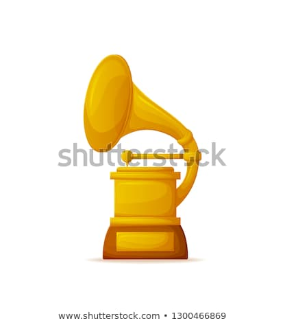golden gramophone award trumpet and needle vector stock photo © robuart