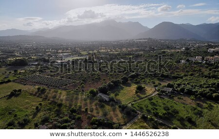 Aerial photo Campanet town situated in the northeast of Palma de Stock photo © amok