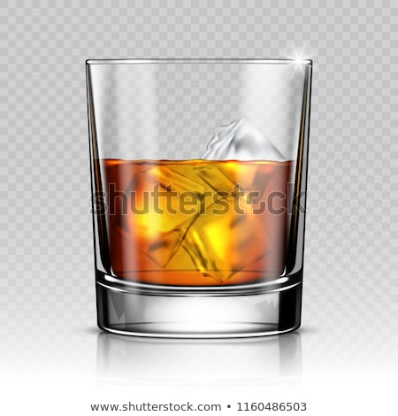 design glass with whisky and ice cubes vector stockfoto © pikepicture