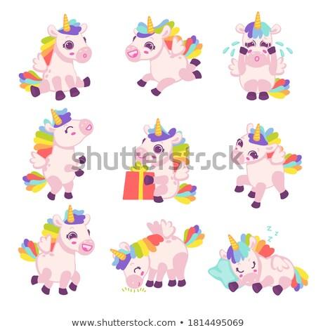 Ingesteld verschillend vector geïsoleerd cartoon paarden Stockfoto © robuart