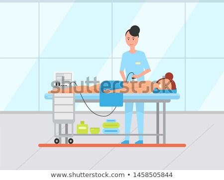 Stockfoto: Vrouw · ultrageluid · massage · vector · lichaam · behandeling