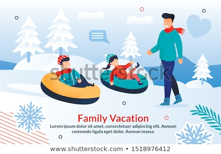 Father And Daughter Having Fun Sledging Down Hill Stock photo © monkey_business