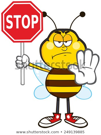 Arrabbiato ape mascotte carattere stop Foto d'archivio © hittoon