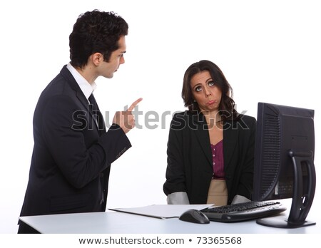 Angry business manager infront of office computer. Stock photo © lichtmeister