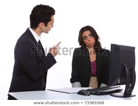 déprimée · Homme · exécutif · travail · ordinateur · bureau - photo stock © lichtmeister