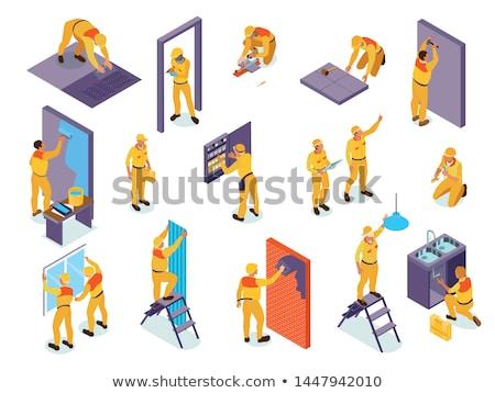 Zdjęcia stock: Wektora · izometryczny · pracownika · drzwi · instalacja · stolarz