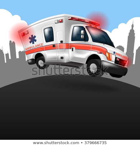 Сток-фото: Paramedic Emt Ambulance Rescue Truck Cartoon Isolated Vector Illustration