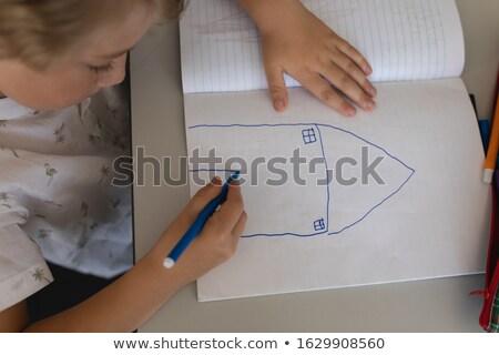 High angle view of schoolgirl drawing in classroom sitting at desks in school Stock photo © wavebreak_media