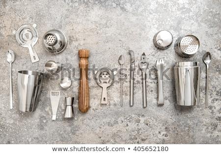 Set of bar tools on stone table Stock photo © karandaev