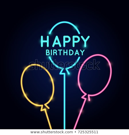 Vintage Glow Greeting Card with Gift and Happy Birthday Inscript Stock photo © lissantee