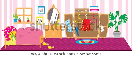 Crianças meninas bonecas secretária ilustração de costura Foto stock © lenm