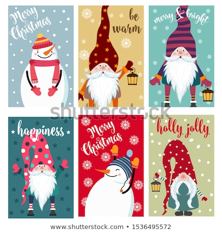 Christmas labels collection with snowman and gnomes isolated ite Stock photo © balasoiu