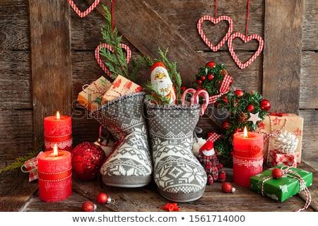 Laarzen weinig presenteert snoep gebreid christmas Stockfoto © BarbaraNeveu