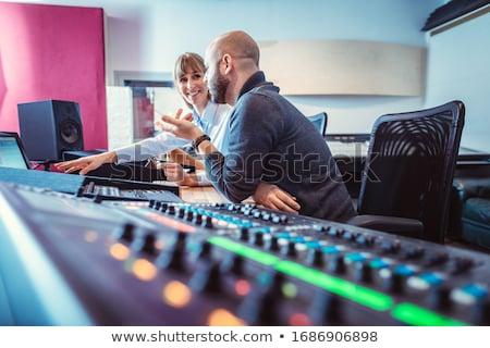 Hang mérnök énekes zenész megbeszél keverék Stock fotó © Kzenon