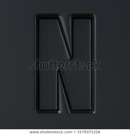 Fekete gravírozott betűtípus n betű 3D 3d render Stock fotó © djmilic